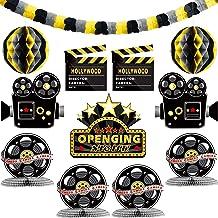 Boao Kit de Decoraciones de Fiesta de Hollywood 12 Piezas Incluye Guirnalda de Papel Recortes de Noche de Película Centro de Mesa de Panal para Ceremonia de Noche de Premios