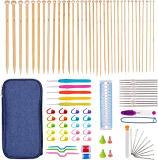 K Kwokker 95 X Crochet Hooks Set Bamboo Knitting Needles 2mm to 10mm, Stitch Markers, Stainless Steel Yarn Needle, Gauge, Scissor, Ergonomic Aluminum Sewing Weave Set for DIY Craft w/Blue Storage Cas