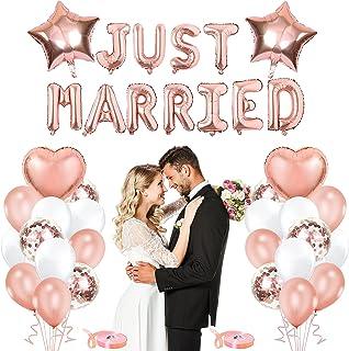 Just Married Decoration,Just Married Bannière,BJust Married Guirlande,Décoration de mariage Just Married pour Femmes Fille...