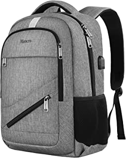 Business Laptop Backpack Mancro Slim Anti Theft Durable Travel Bag with USB Charger Port Fit Up to 17 Laptop Water Resistent Lightweight College School Daypack for MacBook Computer Women Men Grey