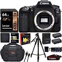 Canon EOS 90D DSLR Camera Body with Lexar 64GB U3 Video Memory Card, Tripod, Camera Bag, Spare Battery, Card Reader, Cleaning Kit and More
