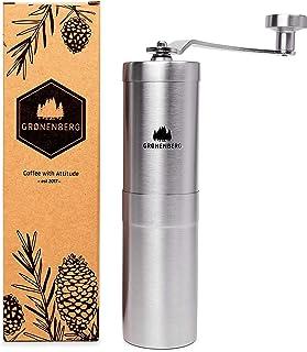 Groenenberg Molinillo de café manual | Coffee Grinder, Acero inoxidable | Molinillo clásico para moler granos semillas café á mano | Empaque reciclable | Máquina molino café manual