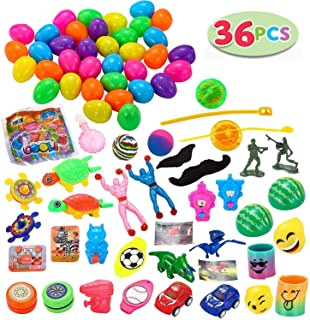 JOYIN 36 Toys Filled Easter Eggs, 2.25 Inches Bright Colorful Prefilled Plastic Easter Eggs with 18 Kinds Popular Toys