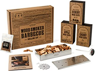 Cooking Gift Set | BBQ Smoker Wood Chip Grill Set | Perfect Gift for Guys | Dad Birthday Gift Idea