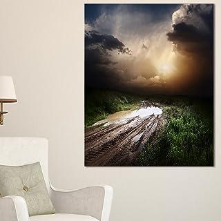 Design Art PT11614-30-40 Muddy Countryside Roads under Dark Clouds-Landscape Art Canvas Print-30X40, 30x40