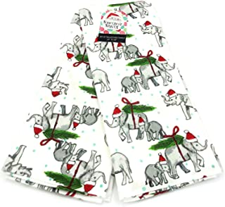 Christmas Elephants in Santa Claus Hats Holiday Kitchen Towel Set