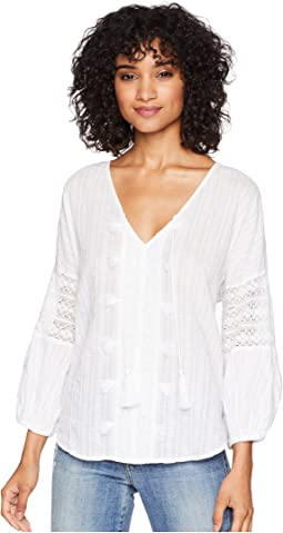 Braided Stripe with Lace Boho Top