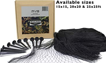 RYG Koi Pond Netting Kit 15x15 Feet, Heavy Duty Mesh Pool Net for Easy Cleaning, Protective Cover for Koi Fish, Skimmer Net Screen for Falling Leaves and Debris, Placement Stakes Included