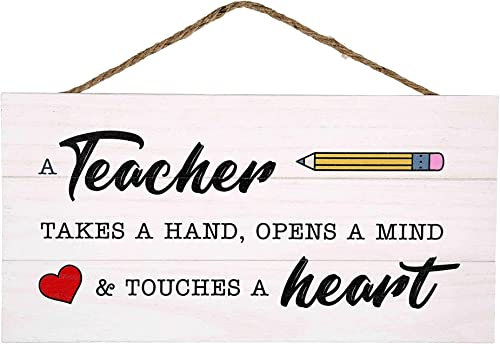 lowest GSM Brands Teacher Takes a Hand Wood Plank Hanging Sign popular for School Decor (13.75 x 6.9 wholesale Inches) online sale