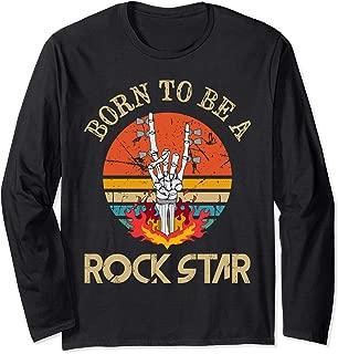 Born To Be Rock Star Heavy Metal Hand Horns Vintage Retro Long Sleeve T-Shirt