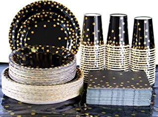 201PCS Disposable Plates Black and Gold Party Supplies, Golden Polka Dots Paper Plates, include 50 Dinner Plates,50 Desser...
