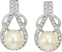 Alton Herculean Knot Pearl/Pave Earrings
