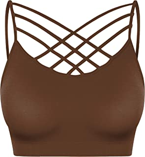 deenzo Women & Plus Front V-Lattice Bralette with Adjustable Straps and Removable Bra Pads (S~3XL)