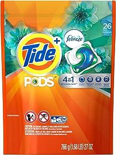 (Botanical Rain, 26 Count) - Tide Pods Plus Febreze Laundry Detergent Pacs, Botanical Rain Scent, 26-Ct bag
