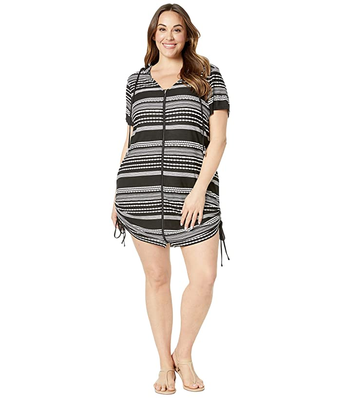 DOTTI Plus Size Ibiza Stripe Side Shirred Hoodie Tunic Cover-Up (Black/White) Women