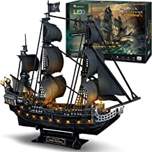 "CubicFun 3D Puzzles 26.6"" Pirate Ship with 15 LED Bulbs for Adults Sailboat Model Building Kits Hobby Toy, Cool Room Decor..."