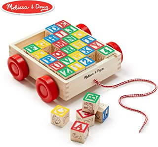 Melissa & Doug Classic ABC Wooden Block Cart (Educational Toy With 30 Solid Wood Blocks)