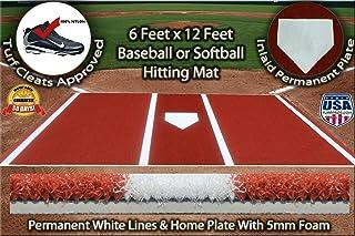 Premium 12` X 6` Baseball/Softball Hitting Mat Clay/Dirt Color- Foam Backing & Permanent Plate