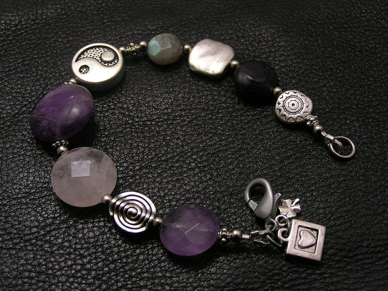 Translated Amethyst Bracelet with Rose SALENEW very popular! Quartz Yang Yin Labradorite and