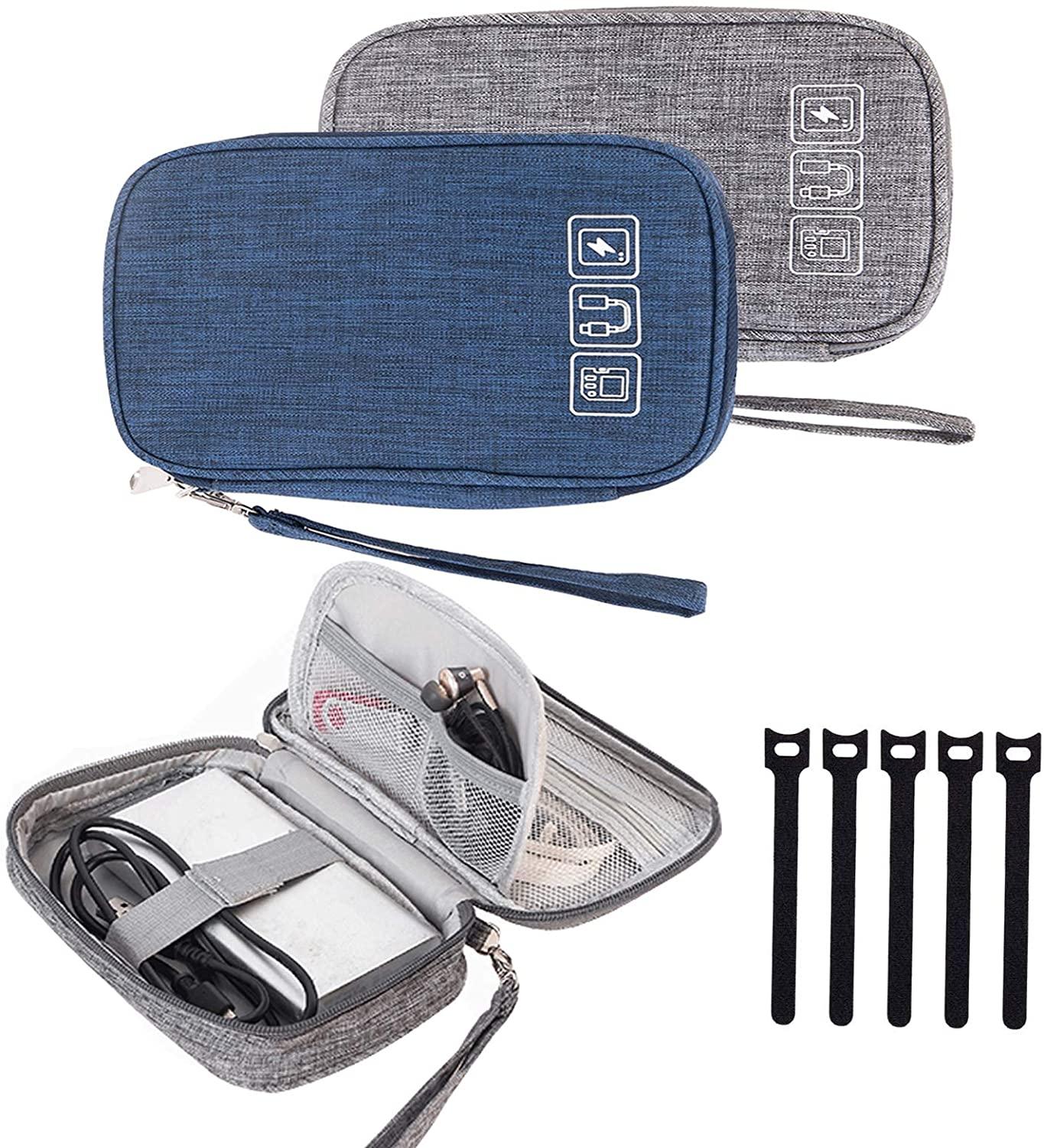 Cable Organizer Case, Travel Cord Organizer Case Small Electronic Accessories Carry Case Portable for Cable, Cord, Charger, Hard Drive, Earphone, USB,SD Card with 5 Cable Ties, 2Pack(Gray+Blue)