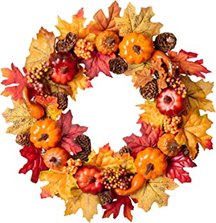 Lvydec Artificial Maple Leaves Fall Wreath - 15