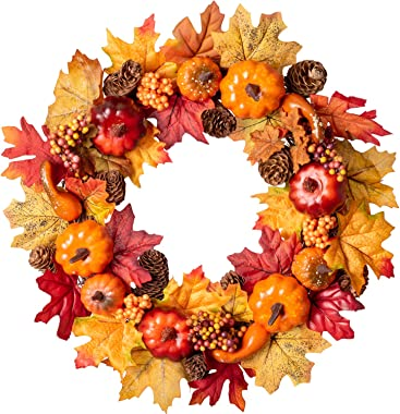"""Lvydec Artificial Maple Leaves Fall Wreath - 15"""" Autumn Wreath with Colorful Maple Leaves Pumpkin Pine Cone and Berries, Harvest Wreath for Front Door Table Wall and Thanksgiving Decorations"""