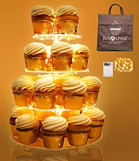 Jusalpha 4 Tier Round Cupcake Stand – Premium Cupcake Holder – Acrylic Cupcake Tower – Ideal for Weddings Birthday Parties, Candy Bar Decor 4RF (LED Light option: Battery)