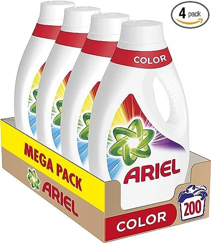 Ariel Detergente Lavadora Líquido, 200 Lavados (Pack 4 x 50), Protección Color