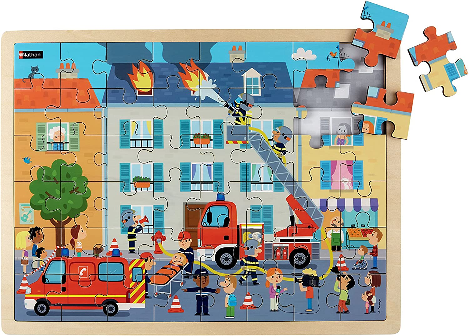 Nathan 387177 48 Pieces Firefighters Large Wooden Jigsaw Puzzle, Multi color