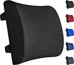 Everlasting Comfort 100% Pure Memory Foam Back Cushion - Lumbar Support Back Pillow - Fits Car Seat and Office Chair - Lower Back Pain Relief (Black)