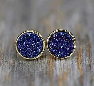 Small Dark Blue Druzy Stud Earring- Genuine Druzy Quartz Gemstone- Navy Blue- 7mm