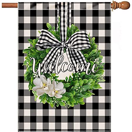 Spring Boxwood Wreath Welcome House Flag Vertical Double Sided Buffalo Check Plaid Rustic Farmhouse Burlap Yard Outdoor Decoration Black White 28 X 40 Inches Garden Outdoor