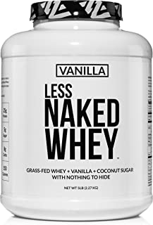 Less Naked Whey Vanilla Protein – All Natural Grass Fed Whey Protein Powder + Vanilla + Coconut Sugar- 5lb Bulk, GMO-Free,...
