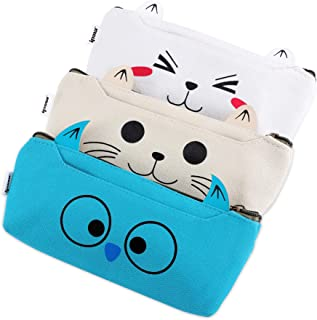 IPOW 3 Pack Adorable Cute Animal Cat Dog Owl Canvas Cosmetic Pencil Bag Pen Case,Students Stationery Pouch Zipper Bag for School Supplies,Tools,Gadgets