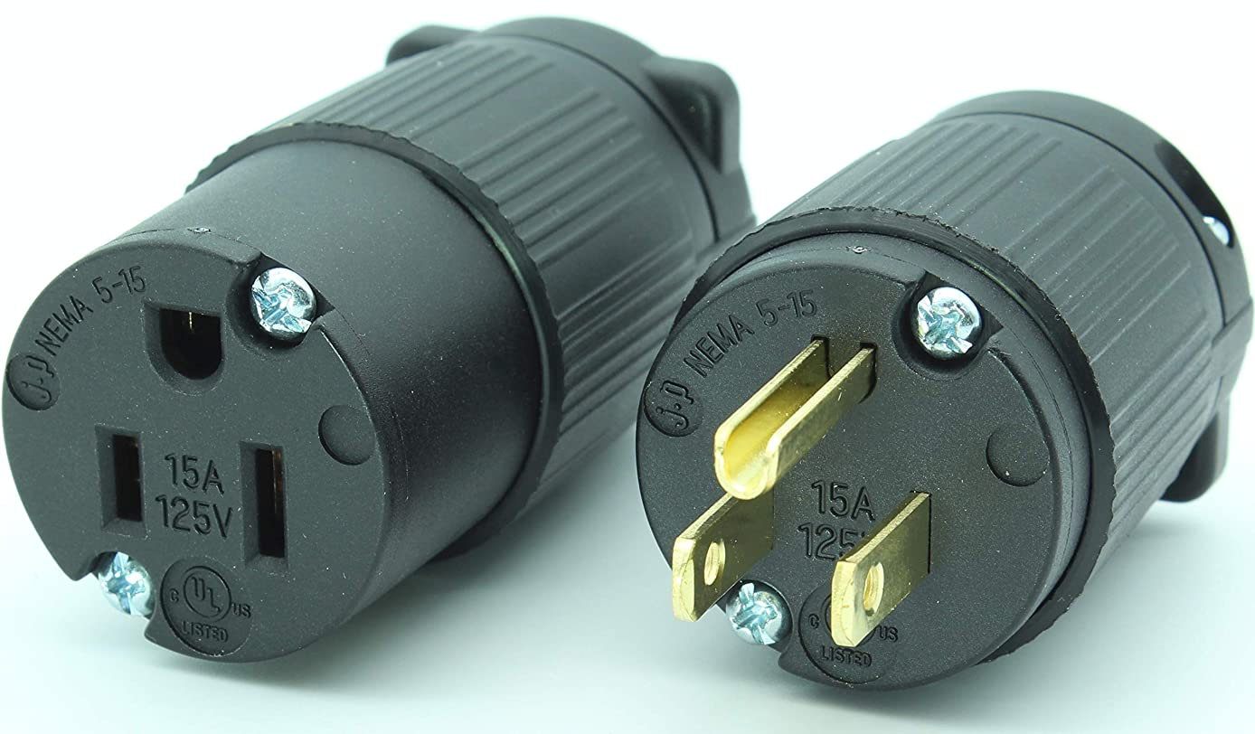 Journeyman-Pro 515PC Plug & Connector Set 15 Amp 120-125 Volt, NEMA 5-15P + 5-15C, 2Pole 3Wire, Straight Blade, Male & Female Replacement Cord End, Commercial Grade PVC Black (1)