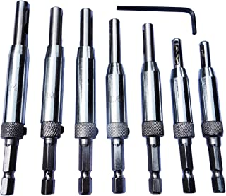 Self Centering Drill Bit Door Window Cabinet Hinge Hardware Drill Bits Set of 7 Pcs (5/64-1/4) with 1 Hex Key Hss Woodworking Tools