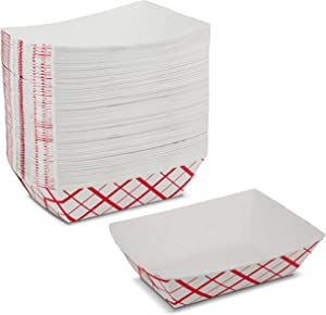 Paper Food Trays - 2 1/2 lb Disposable Plaid Classy Red and White Boats by MT Products (75 Pieces)