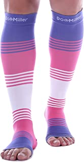 Doc Miller Premium Open Toe Compression Sleeve Dress Series 1 Pair 20-30mmHg Strong Support Graduated Sock Pressure Sports Running Recovery Shin Splints Varicose Veins (PinkVioletWhite, Large)