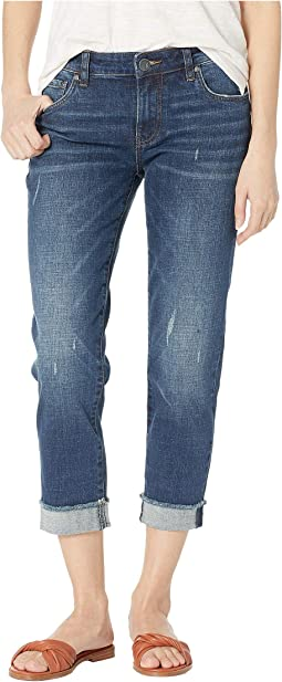 Amy Crop Straight Leg Jeans w/ Roll Up Fray Hem in Kiss w/ Dark Stone Base Wash