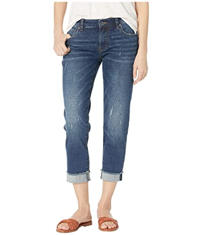 KUT from the Kloth Amy Crop Straight Leg Jeans w/ Roll Up Fray Hem in Kiss w/ Dark Stone Base Wash (Kiss w/ Dark Stone Base Wash) Women