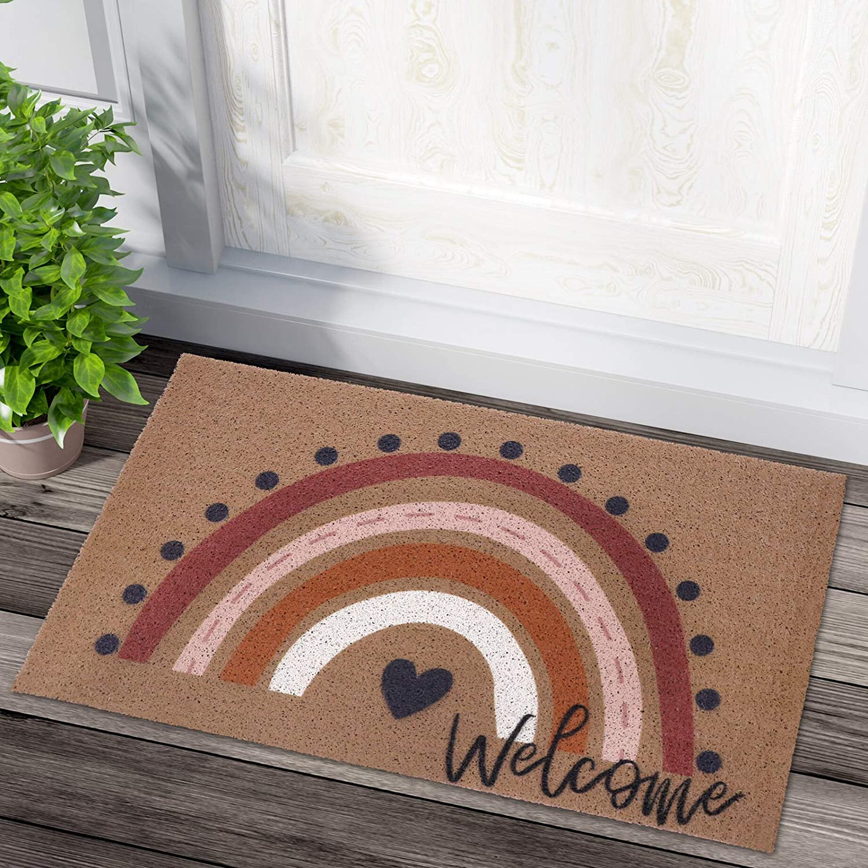 Rainbow Welcome Doormat Boho Indoor Outdoor Non Memphis Max 67% OFF Mall Entryway