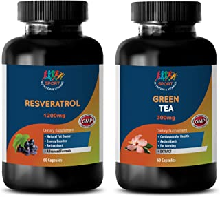 Best antioxidant - RESVERATROL - Green Tea - Combo - Green Tea Supplement - (2 Bottles Combo)
