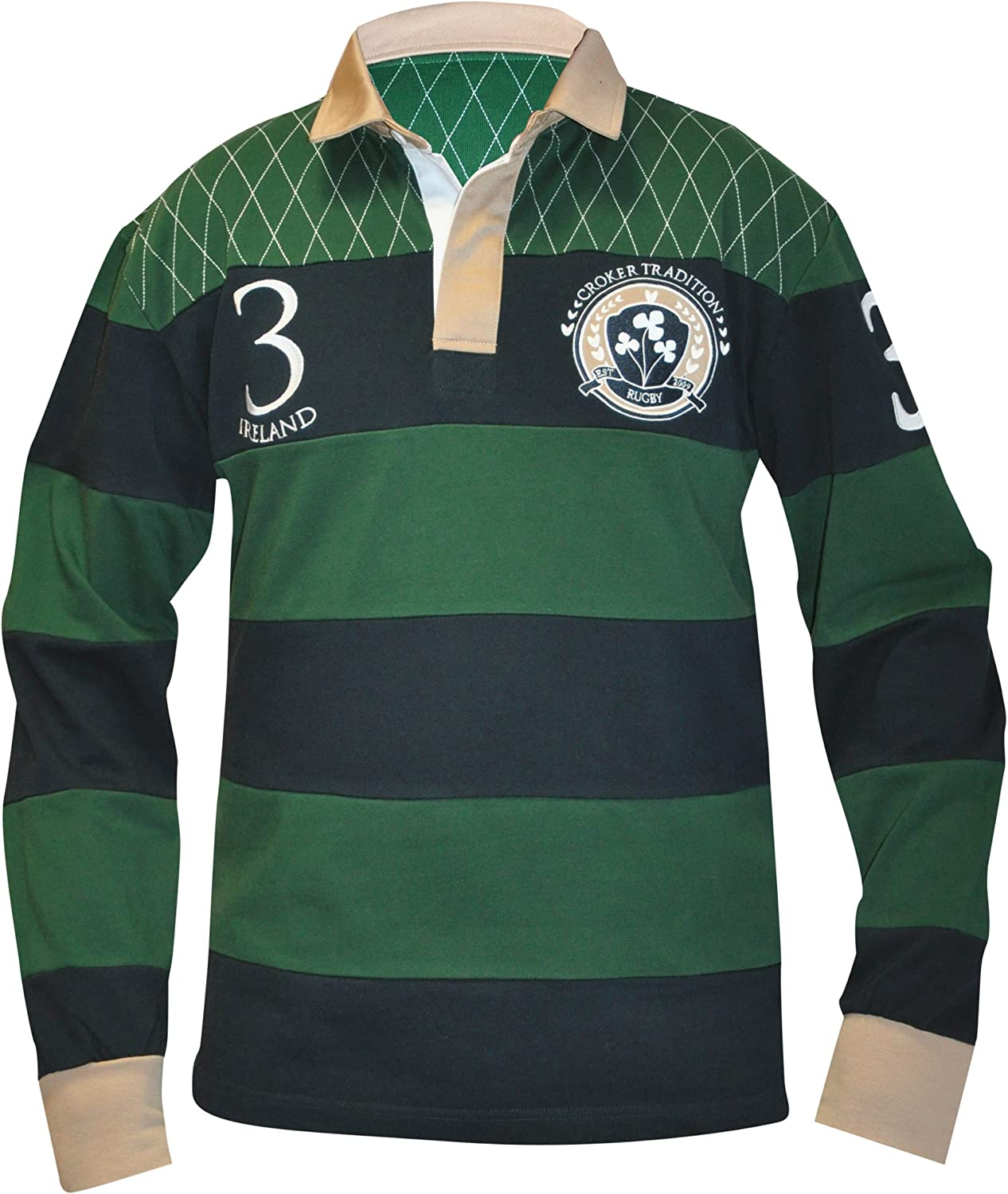 Croker Traditional Green and Navy Striped Rugby Jersey  Cotton Long Sleeve Polo Shirt