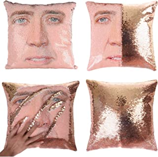 Merrycolor Mermaid Pillow Cover, Nicolas Cage Pillow Case Magic Reversible Sequin Pillow Cover Decorative Throw Cushion Case (Champaign Gold)