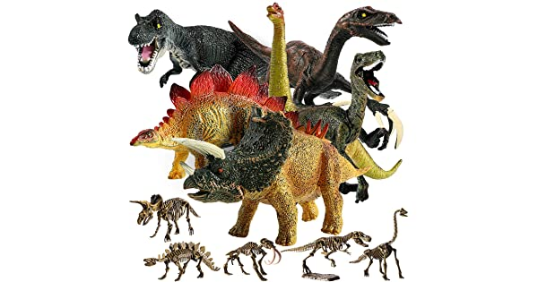 """Educational Dinosaur Toys Birthday Gifts Small Animal Plastic Dinosaur with Skeletons Toddler Playset Toys for Party Favors GEYIIE Kids Realistic Toy Dinosaur Figures 6.7/"""" Pack of 11"""