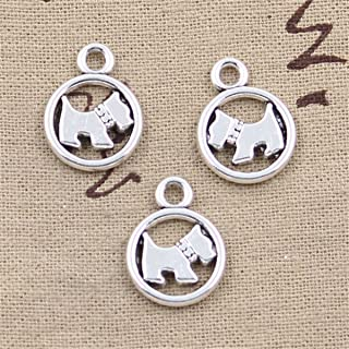 20pcs Charms circle scotty dog Antique Silver Charms Pendants for Making Bracelet Necklace Jewelry Findings Jewelry Making Accessory 15mm