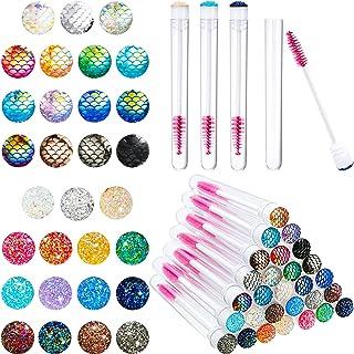 60 Pieces Disposable Mascara Brushes Tube Set 30 Diamond Eyelash Spoolies Brush 30 Mascara Lash Wand Eyelash Brushes Eyela...