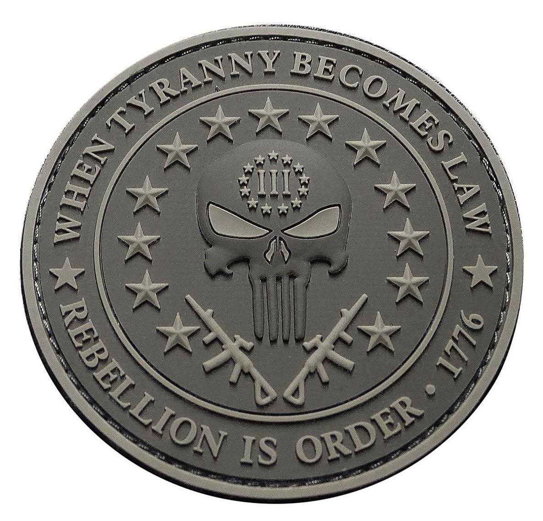Three 3% Percenter Rebellion Tyranny Punisher 3 inch PVC Rubber 3D Morale Hook PVC Patch (ACU)