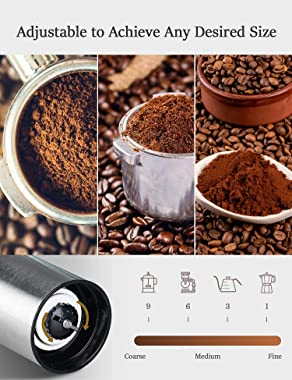 Manual Coffee Grinder, PortableCoffeeBeanGrinder with CeramicBurrAdjustable Grinder Setting, Hand Coffee Mill for Office