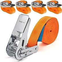 4 stuks 800kg 4m spanbanden met ratel sjorband ratelriem spanriem sjorriem ratelspanband 25mm eendelig 800 daN 0,8t